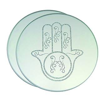 Aulica 556501 Hand der Fatima Set 2 Untersetzer Teller-weiß