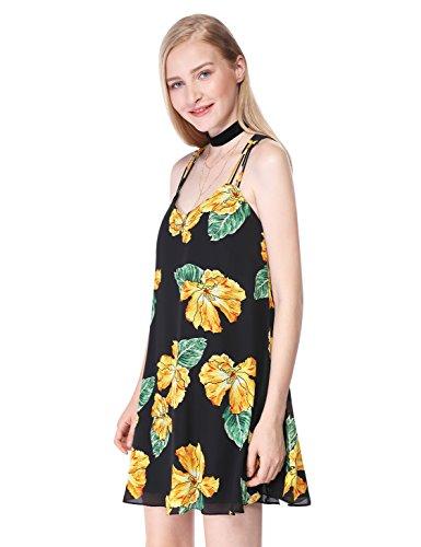 Alisapan Sexy Kurz Casual Blumenprint Trägerkleid Sommerkleider 05614 Schwarz