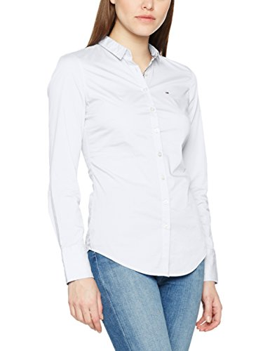 Tommy Jeans Damen Bluse TJW Basic Stretch Shirt L/S 1, Weiß (Bright White 113), Small