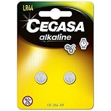 CEGASA LR44 - Pack 2 pilas botón alcalina, color verde