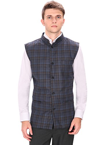 Routeen Navy Blue Casual Partywear Tweed Waistcoat Jackets for Men