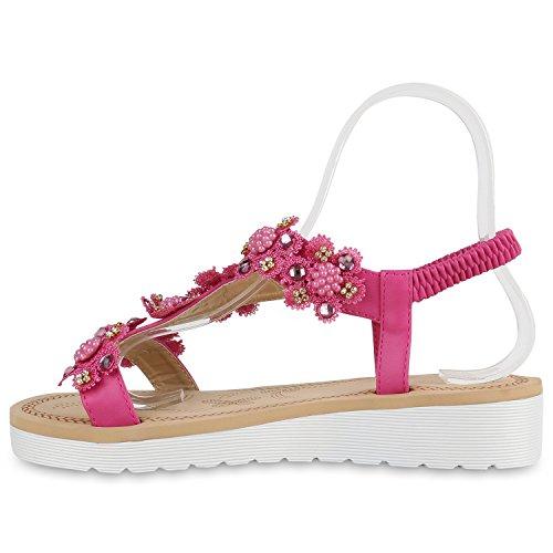 Damen Sandaletten Strass Zehentrenner Dianetten Strandschuhe Pink Verzierung