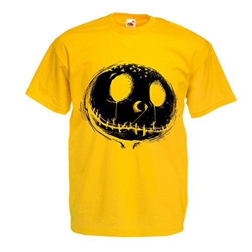 Männer T-Shirt beängstigend Schädel Gesicht - Alptraum - Halloween-Party-Kleidung (X-Large Gelb Mehrfarben)