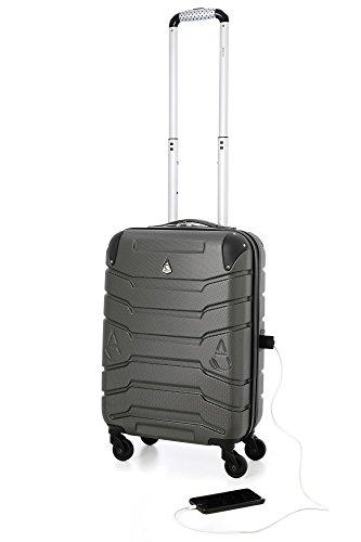 Aerolite Trolley SMART con porta USB per caricare il telefono, ABS Bagaglio a Mano Valigia Rigida Leggera con 4 Ruote , Approvata per Ryanair , Easyjet , Alitalia e Molte Altre (Grigio Carbone)