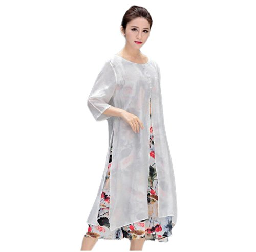 HGDR Nationaler Stil Frauen Rundhals Lose Kurzhülse Faux Silk Doppelte Schicht Kleid Strandurlaub Casual Dress White