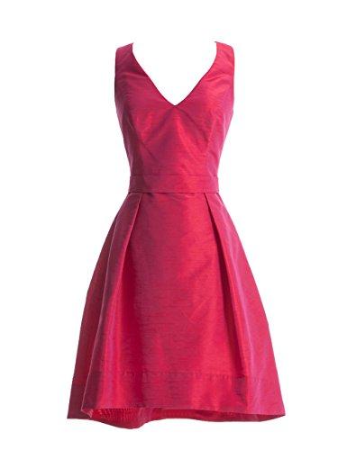 Dresstells, A-ligne robe courte de demoiselle d'honneur satin sans manches, robe de cocktail col en V Rouge Foncé