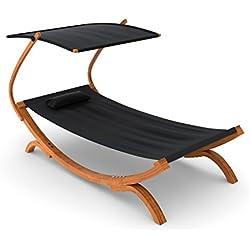 Ampel 24, Bain de soleil, chaise longue PANAMA noire | avec marquise réglable | transat pour une personne | 230 x 125 cm | chaise de jardin en bois prétraité