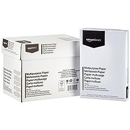 AmazonBasics Carta da stampa multiuso A4 80gsm, 5×500 fogli, bianco