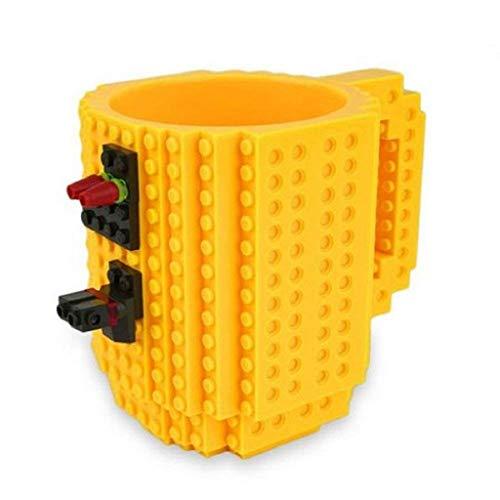 Soyion Kreativer Building Brick Mug DIY Brick Tasse DIY-Montage Kaffeetasse Becher,Weihnachten Geschenk Idee(Gelb)