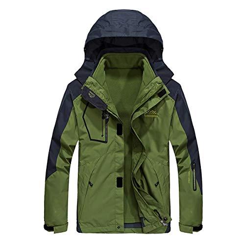 Herren 3-In-1 Jacke mit Removable Fleece Liner, Windproof Warm Two-Piece Down Jacket Winter Outdoor Mountaineering Sportswear,DarkGreen,2XL [Energy Class A],A,5XL Jacke Fleece Liner