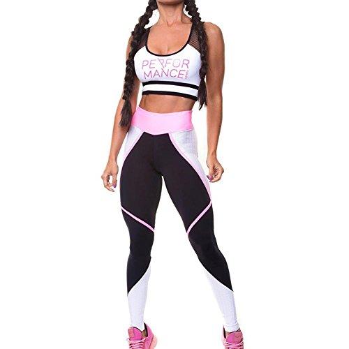 2 Stücke Frauen Yoga Gym Fitness Trainingsanzug Kleidung Sets, Brief drucken Sport Anzug Tanks Tops und Jogginghose Dünne Leggings Sportwear Casual Anzug (Damen Stück Anzug Weiß 2)