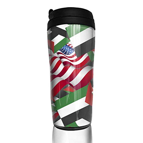 Travel Coffee Mug Palestine Flag with America Flag 12 Oz Spill Proof Flip Lid Water Bottle Environmental Protection Material ABS