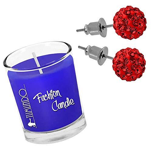 Schmuckkerze Duftkerze Tumundo Fashion Candle Kerze Mit Shamballa Ohrstecker Ohrringe Ohr Strass Kristall Kugel Disco, Farbe:rot - 8mm