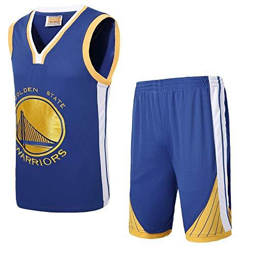 Unbekannt LT NBA Trikot Herren Warriors Big Size Trikot, Stickerei Handwerk, DIY gedruckt Trikot Sommer atmungsaktives Sweatshirt Shirt Blue-XXXXL