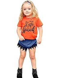JYC Conjuntos Bebes,Ropa para Chicas,Niñito Niños Bebé Niña Carta Camiseta Tops Cordón Pantalones Cortos Halloween Conjunto
