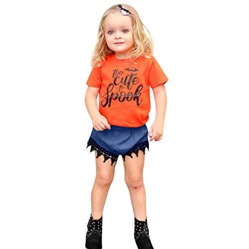 RYTEJFES Kinder Kurzarm Halloween Motiv Mädchen Kostüm Cartoon T-Shirt +Jeans 2-teiliges Ungen Bekleidungssets Abschlussball Ballkleid