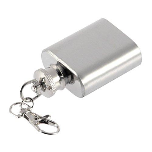 Unzen tragbar mini Edelstahl Flachmann Alkohol Schnabelkanne mit Schlüsselanhänger (Mini Schlüsselanhänger Flachmann)
