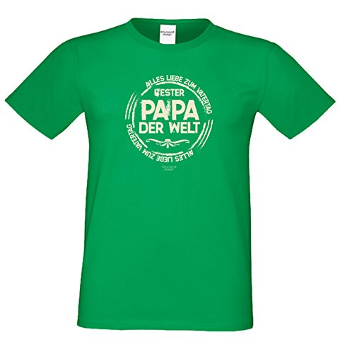 Vater-Tag Herren-Oberteil Geschenke Fun-T-Shirt Print-Motiv: Bester Papa der Welt Farbe: hellgrün Hellgrün