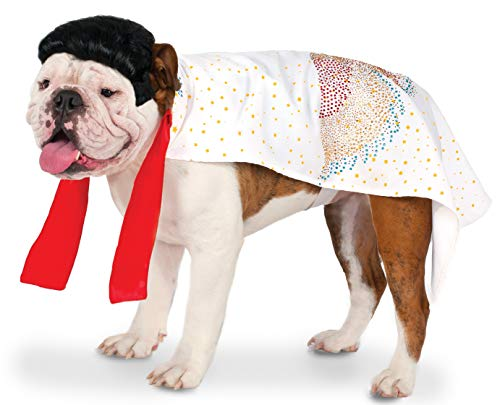 Kostüm Elvis Hunde - Rubies Elvis White Cape Pet Costume L