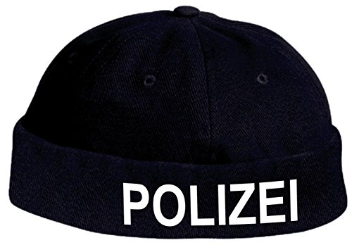Docker-CAP POLIZEI Policia Cop Kappe Police Bikercap Roll-Mütze Karneval Fasching (dunkelblau/weiß)