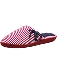 Isotoner Red/White Slipper, Chaussons Mules Femme