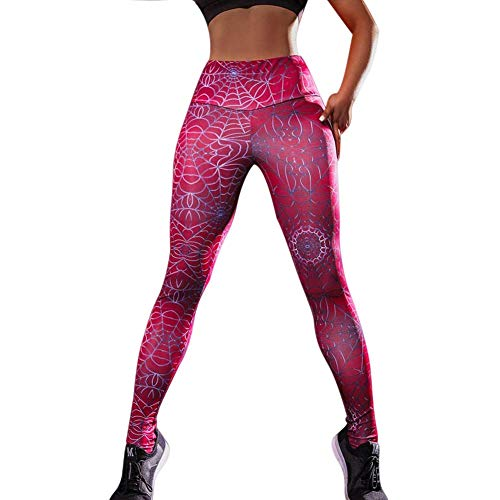 Symboat Women Compression Leggings Spider Web Print Stretch Slim Pants Fitness Trousers - Stretch-spider