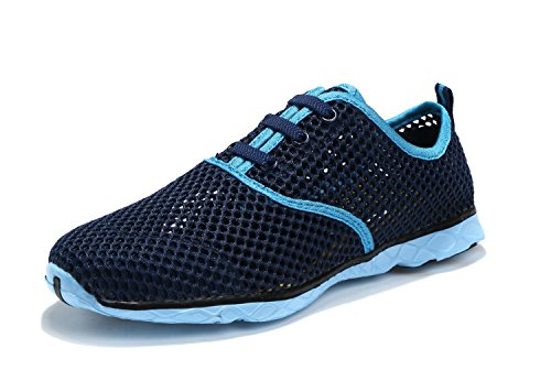 ALSYIQI Men Women Breathable Mesh Quick-drying Water Shoes Sport Sneaker Women Blue