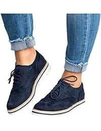 Juqilu Moda de Mujer con Cordones Talla Plana Tacones de Cuero Botas de Tobillo Vestido Diario Zapatos Retro Brogues Señoras Ocio…