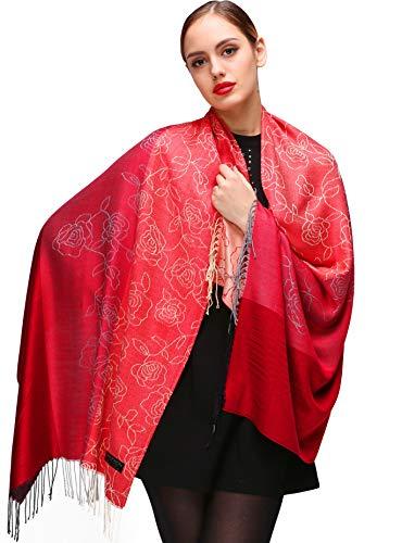 Shmily Girl Damen Schultertuch Stola - Eleganter Pashmina Schal mit floralem Muster in vielen Farben (One Size, Rot-c109)
