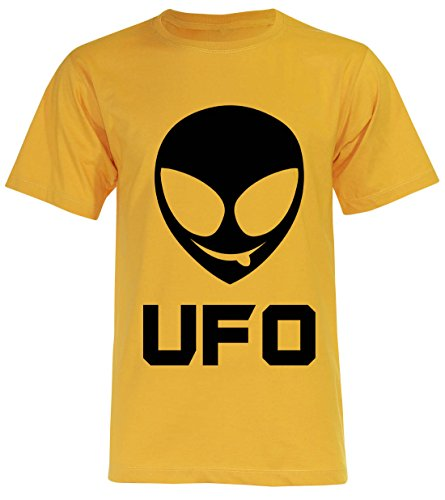 PALLAS Unisex's Alien Smile Funny UFO T-Shirt Yellow
