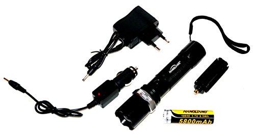 Ultra Helle SWAT Profi Cree Hi-Power LED Chip Taschenlampe mit Zoom + Zubehör: 5800mA Akku, 2 x Ladekabel, Schlaufe, Batteriefach Adapter NEU