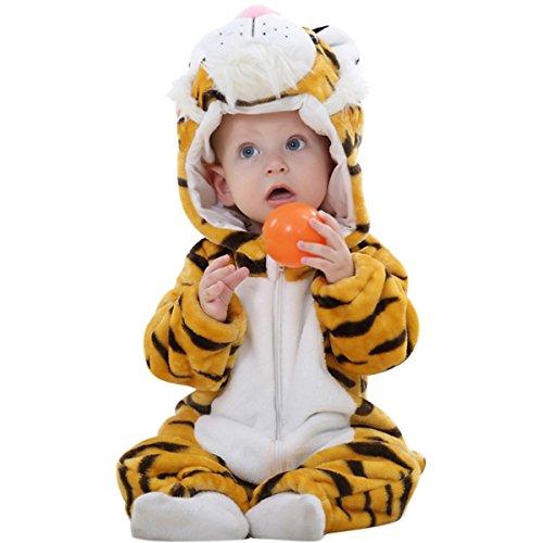 Happy Cherry–Bambino Unisex combinazione pigiama–Bambino Inverno Caldo Romper Cartoon–Costume Serata di costume–Tigre marrone tigre 6-12 Mois(Hauteur: 66-75cm)