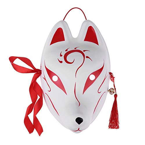 Agoky Unisex Masken Festival Party Cosplay Fuchs Hase weiße Maske Karneval Fasching Karneval Halloween Accessoires Japan Rot D One Size