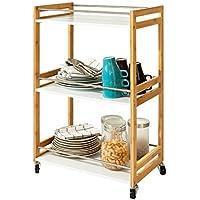 SoBuy® Carrito de Server de bambú, Estanteria para nichos, Trolley de Cocina, Estanterias de baño, FKW32-WN, ES