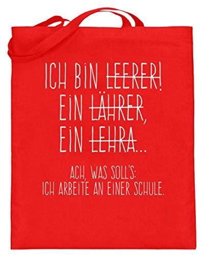 Shirtee Perfekt für alle Lehrer! - Jutebeutel (mit langen Henkeln) -38cm-42cm-Rubinrot