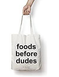 Foods Before Dudes Tote Bag| Canvas| Fashion| Eco Friendly| Shoulder Bag| For Gym Beach Shopping College| The...