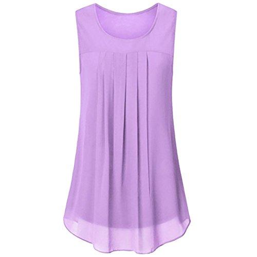 OverDose Damen Sommer Ärmellos O-Ausschnitt Casual Chiffon Solide Weste Bluse Tank Tops Camis Frauen T Shirt Tees (Violett,EU-44/CN-M) -