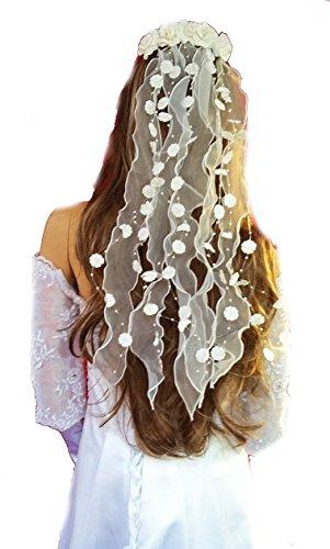 Haarschmuck/ Kopfschmuck/ Haarbänder mit Perlen und Blüten Hochzeit Kommunion mehre Länge zum Wahl (55cm, weiß)
