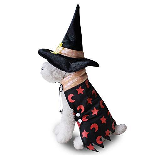 TYJY Hundekostüme Halloween-Hundekleidung Lustiges Haustier Verkleiden Sich Mantel Und Hut Sterne Mond Druckt Welpen-Kostüm