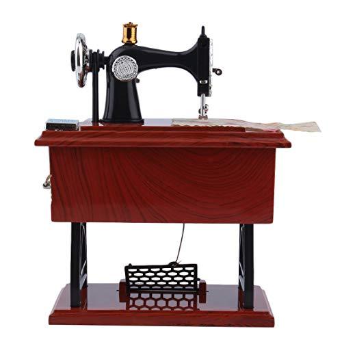 Laurelmartina Mini Vintage Lockwork Máquina de Coser Caja de Música para Niños Juguete Treadle Sartorius Juguetes Regalo de Cumpleaños Decoración del Hogar