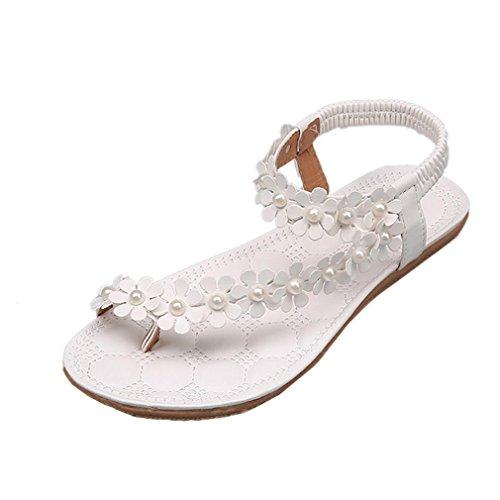 Sandalen Damen Sommer Elegant Böhmen Blumen-Perlen Flip-Flop Schuhe Flache Sandalen Schuhe Mode Strandschuhe Zehentrenner Pantoletten Riemchensandalen (35, Weiß) -