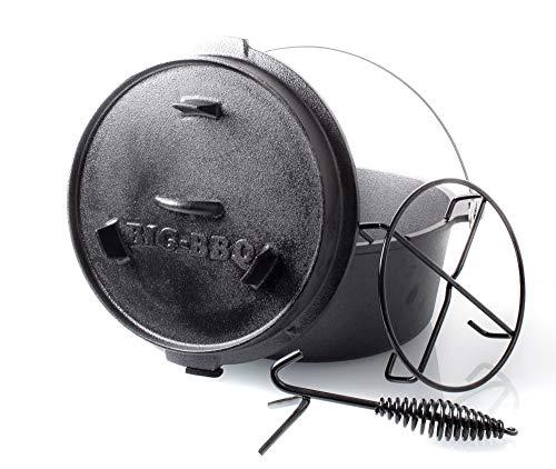ToCis Big BBQ Premium Dutch Oven 6.0 Gusseisen eingebrannt 12er Kochtopf mit Deckelheber Deckelständer ohne Füße