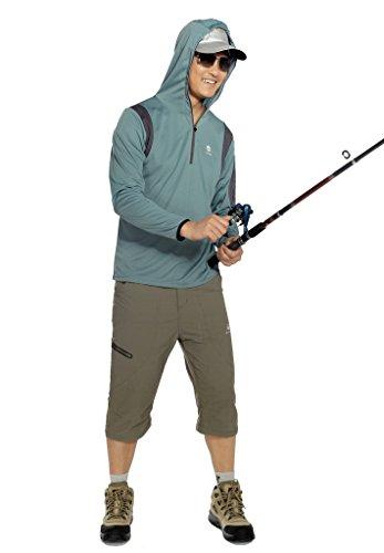 HYSENM Mit Reißverschluss Atmungsaktiv Leicht mit kapuzee Bambus Holzkohle Faser Outdoor Angeln Sonnenschutz Jacke bohnengrün