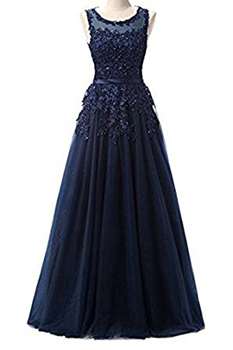 Ever Love A-Linie Lang Spitze T¨¹ll R¨¹ckenfrei Abendkleid Ballkleid Hochzeit Brautjungfernkleid mit Träger-Farbe: Navyblue, Gr. 48