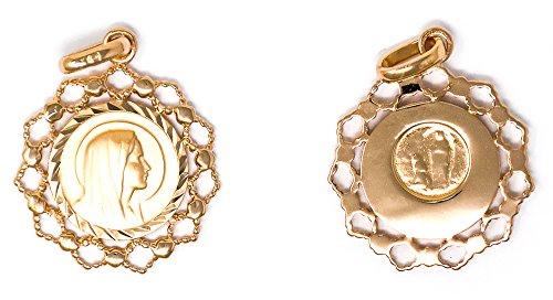 Catholic Gift Shop Ltd Hermoso Colgante de Oro Virgen con Bordes festoneados, medallas Católicas Lourdes y Tarjetas de Felicitación