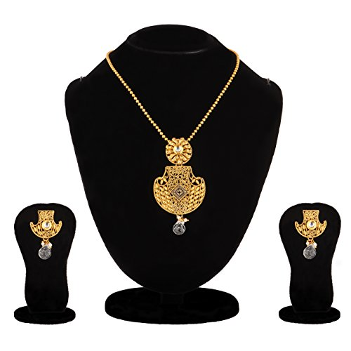 Apara contemporary Black Meenakari Pendant Necklace Set with Pearl Drop for Women