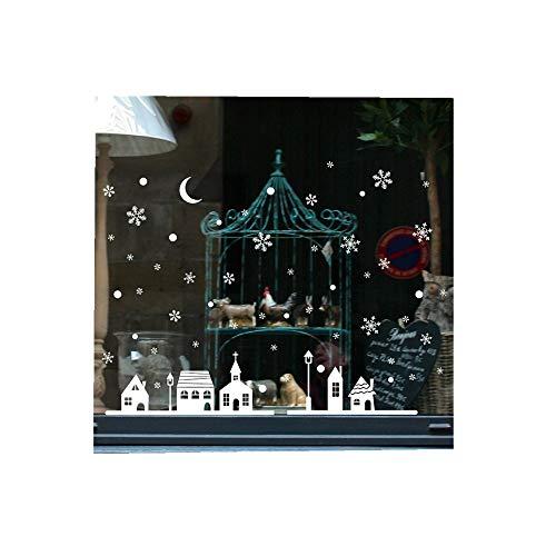 n Weiß Wandaufkleber Geschäft Fenster Dekoration Mauer Aufkleber Weihnachten Schneeflocken Stadt Wandtattoos Aufkleber Wall Stickers (25x35cm) (Weiß,1 PC) ()