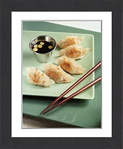 Framed Print of Fried Pork Dumplings with Dipping Sauce