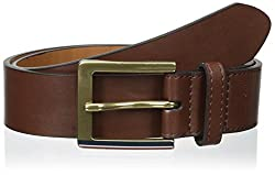 Tommy Hilfiger Mens 38mm Panel with Stripe Belt, Brown, 32
