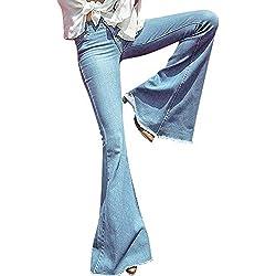 Zarup♥♥♥Mujer Tallas Grandes Pantalones Mujer Vaqueros Baggy Alta Pantalones De Mezclilla De Cintura Alta De Mujer De Cintura Alta De Mezclilla Ancha Pantalones